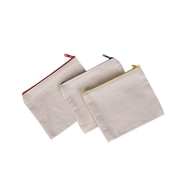 Blank canvas zipper Pencil cases pen pouches cotton cosmetic Bags makeup bags Mobile phone clutch bag organizer