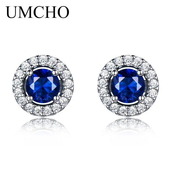 Simulated Sapphire Stud Earrings For Women Solid Pure 925 Sterling Silver Earrings Weddind Princess Diana Jewelry haif
