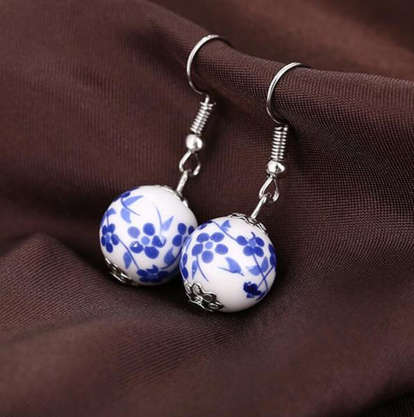 Weinlese-handgemachte keramische Korneohrringe Blumen-ethnische Art blaue und weiße Porzellanohrringe Neue Ankunft 48pair / lot