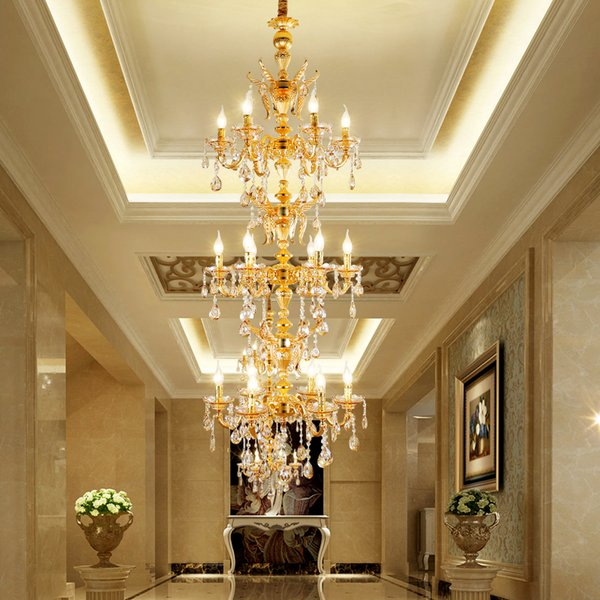 Zinc Alloy Chandelier Duplex House Crystal Chandelier Rotary Staircase Golden Long Chandeliers Hotel Lobby Engineering Crystal Pendant Lamp Ceiling
