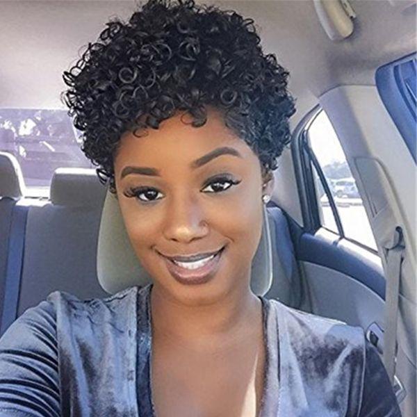 Parrucca corta Afro Curl Onda corpo peruviana Parrucche nere Bob Parrucche senza cappuccio per capelli naturali senza glueless