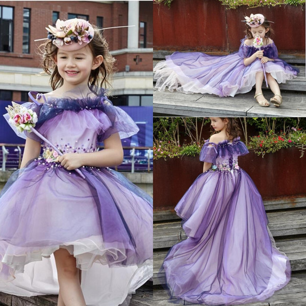 Purple High Low Girls Pageant Gowns Spaghetti Tulle Layers Appliques Beads Flower Girl Dresses For Wedding Lace Up Baby Prom Party Dresses