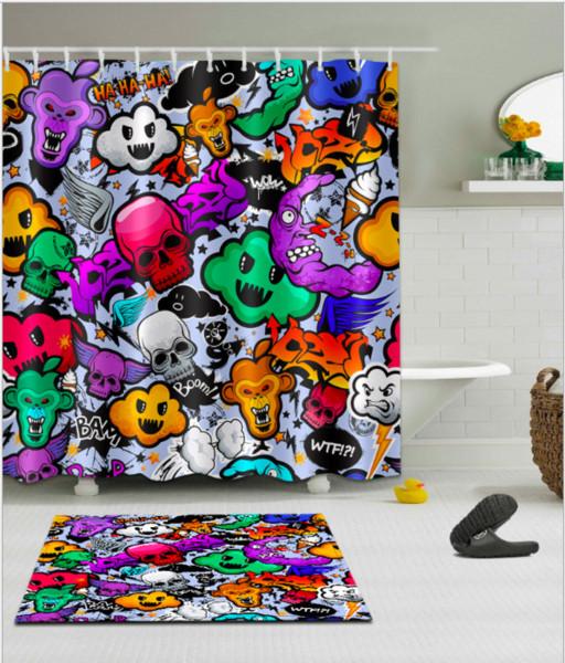 Skull pattern 3D Print Custom Waterproof Bathroom Modern Shower Curtain Polyester Fabric Bathroom Curtain Door mat sets
