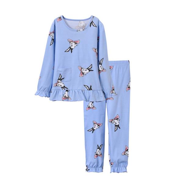 Kinder Pyjama Set Mädchen Rabbit Drucken Nachtwäsche Mädchen Pijamas Set Kinder Pyjama T-Shirt + Hosen Baby Mädchen Langarm Kleidung