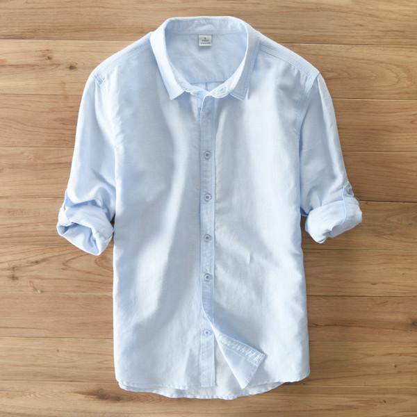Nueva camisa de blusa de lino sólido de los hombres Camisa de marca de ropa Camisas Hombre Vestir Turn-down Collar Hombres Camisa Casual de manga larga Top Chemise