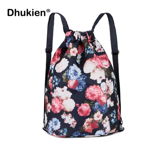 Yeni Çiçek Sırt Çantası Kadın İpli Çanta Rahat Naylon Dize Omuz Çantası Kız Çiçek Baskılı Seyahat Softback Kadın Çanta