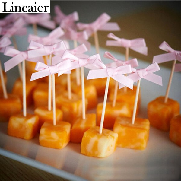 Lincaier 12Pcs Ribbon Bow Cake Cupcake Topper 1st Birthday Party Decorations Kids Bachelorette Baby Shower Boy Girl Supplies