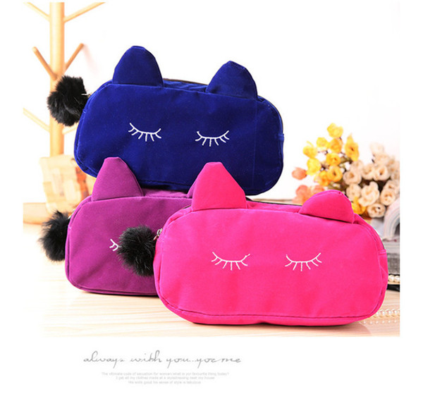 NEW Cute Portable Cartoon Cat Coin Storage Case Travel Makeup Flannel Pouch Cosmetic Bag Korean and Japan Style free shipping