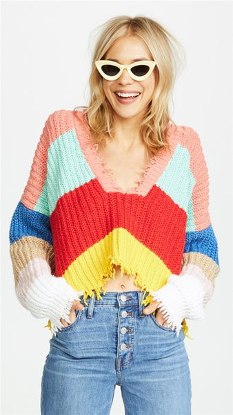 2019 Colorful V Neck Sweater Winter Women Iridescence Color Striped Loose Female Pullovers Autumn Ripped Fringe Knitted Womens Jumper