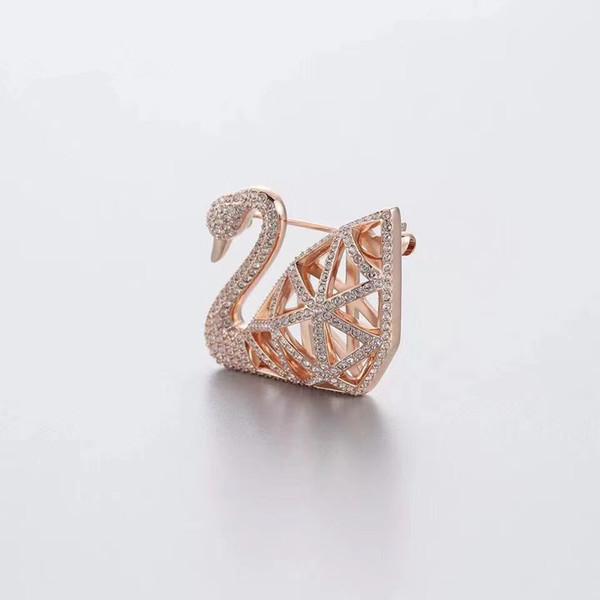 Broche de cygne ajourée classique Broche en or rose de la mode Broche en diamant pour hommes et femmes plaqué or rose, or blanc livraison gratuite