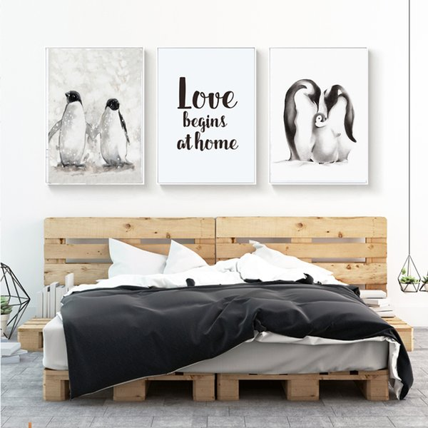 Modern Penguin Family Love Canvas Painting Poster Print Nordic Pop Wall Art Animals Pictures for Living Room Home Decor No Frame