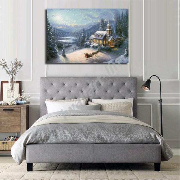 Thomas Kinkade Sunday Evening Sleigh Ride Poster Canvas Painting Oil Framed Wall Art Print Pictures For Living Room Home Decoracion