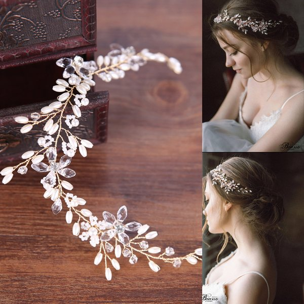 Splendidi cristalli d oro strass perle foglia di fiori da sposa fascia  hairband da sposa 24e97e2a808d