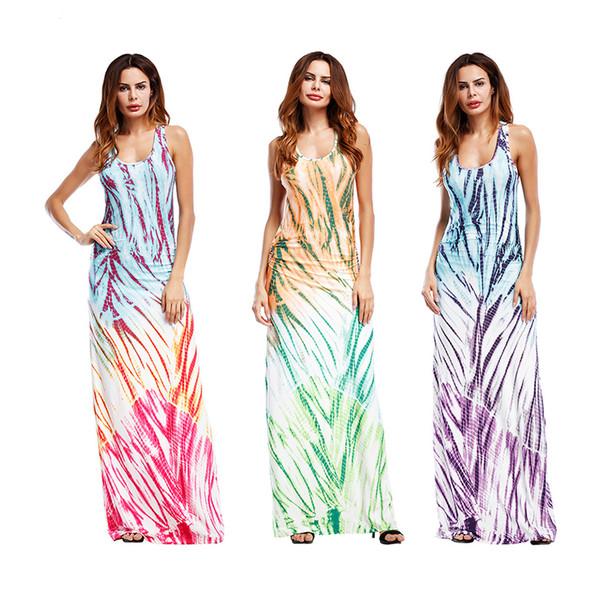 Vestido sin mangas del chaleco de las mujeres 3 colores Impreso Beach  Summer Dresses vestidos de noche largos delgados Vestidos ocasionales  120pcs OOA5114 8c1598f71067