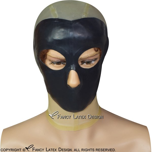Transparent With Black Face Sexy Latex Hood Open Eyes Nose Mouth Eyes Holes Zip Back Rubber Mask TT-0132