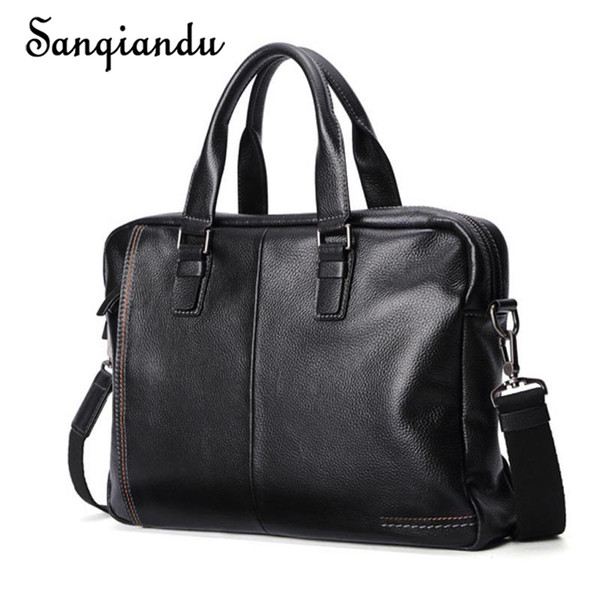 2018 New 100% Genuine Leather Men's Briefcase Fashion Large Capacity Business Bag Black Male Shoulder Laptop Bag Man Briefcase