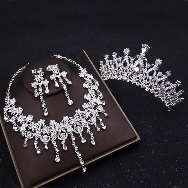 Miles de destellos Taladro de agua Collares Corona coreana joyería de la boda novia vestido de novia accesorios de tres piezas