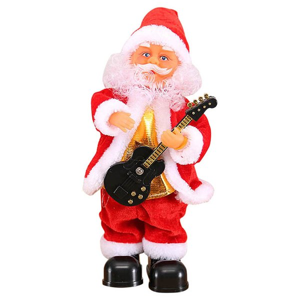 Cute Santa Claus Dancing Singing Music Toy Plush Christmas Dolls Electric Toys Saxophone Guitar J2Y
