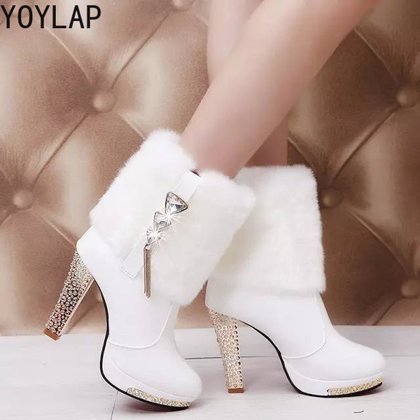 2019 Women's Boots 2018 New Autumn Winter Black White High Heels Boots Mid Calf with Fur Quality Sexy Elegant Ladies Fashion