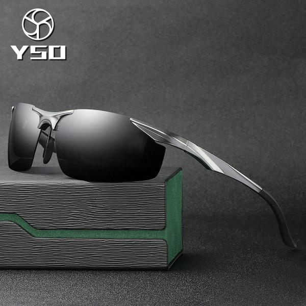 YSO Sunglasses Men Polarized UV400 Aluminium Magnesium Frame TAC Sun Glasses Driving Glasses Semi Rimless Accessory For Men 2206