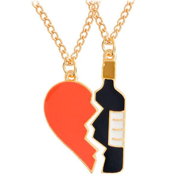 Corazón rojo Amor Botella de vino Rota Collares para Parejas Damas Moda Pendientes Colgantes de Moda de Moda 162663
