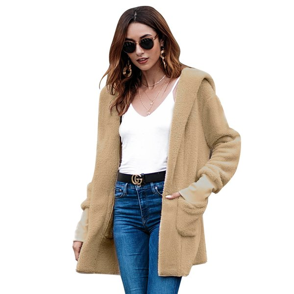 2018 the long coat with hat in autumn and winter V-Neck Open Stitch Streetwear Velvet coat women tweed jacket 90s fashion