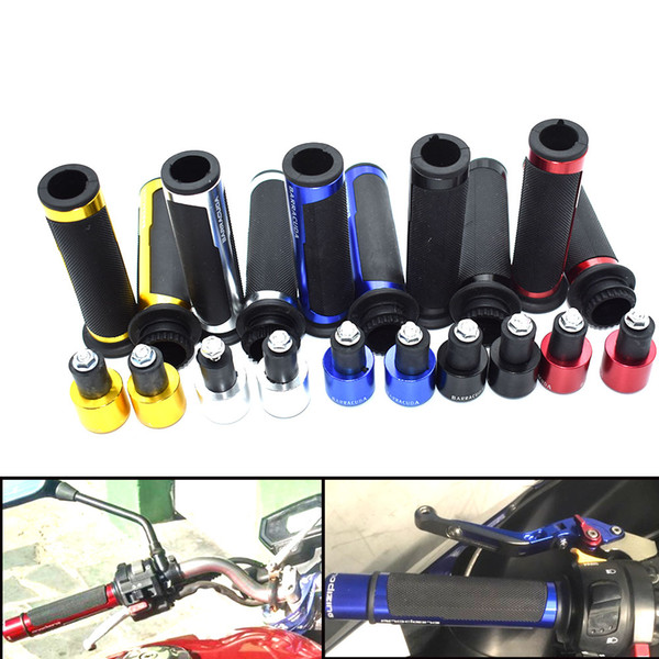 For 22mm Street & Racing Moto grips with CNC end 7/8 '' motorcycle handle for Yamaha FZ1 FZ6 FZ6R FZ8