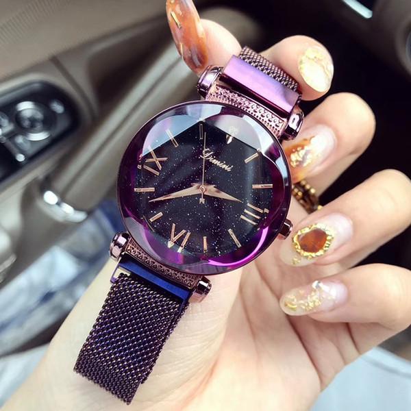 Rose Gold/Purple Luxury Alloy Quartz Watch Waterproof Women Watch Bling Crystal Water Resistant Wristwatch Reloj De Mujer Hot C18111301