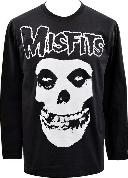 MENS BLK LANGARM TOP MISFITS CRIMSON GHOST GOTH GOTISCHER PUNK ROCK SKULL S-5XL