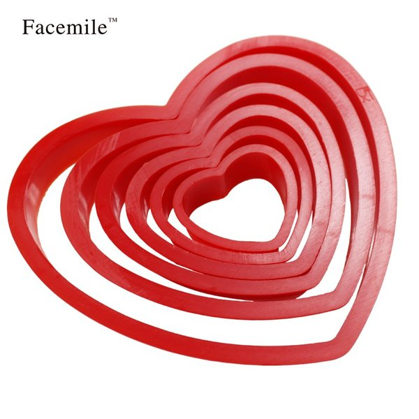Wholesale- Hot Sell 6Pcs/Set DIY Heart Shape plastic Cake Cold Cookie Cutter Biscuit Sugar Craft Cake Decorations 02032