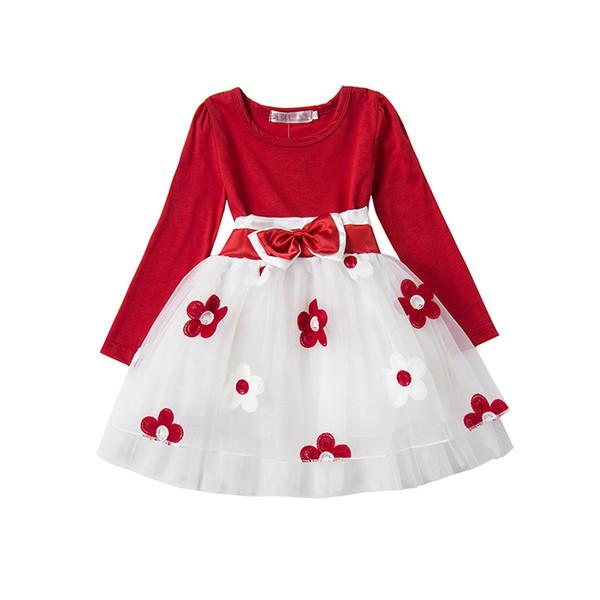 Cute Baby Girl Autunno Inverno vestito infantile Toddlers cotone manica lunga Abbigliamento Little Princess Christmas Party Flower tutu Gown