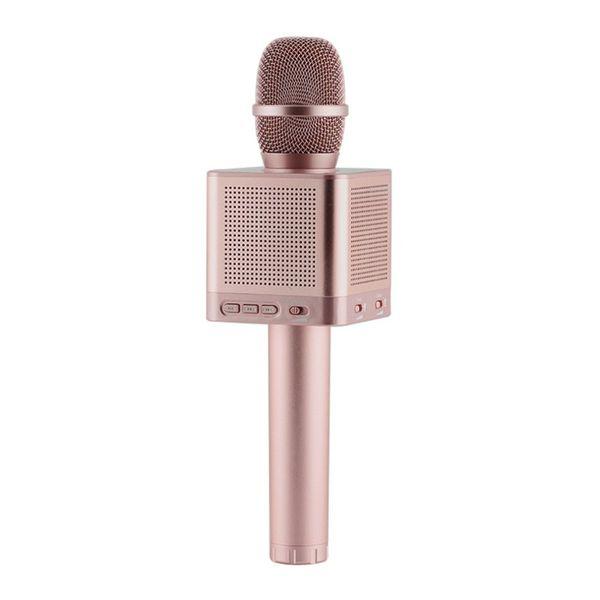 Rose Gold Wireless Microphone KTV Karaoke Microphones HQ Sound Wave Wall Shaking Bass Handheld Microphone Built-in 4 Speakers