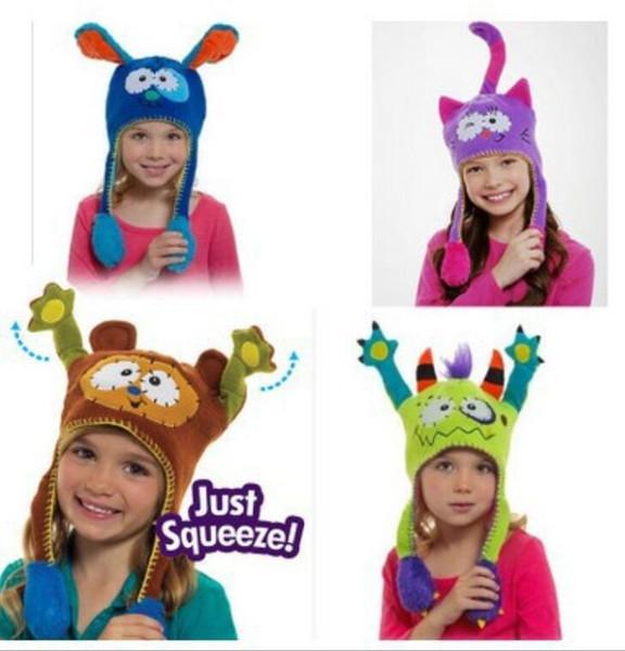 Magic cartoon animal baby plush warm hat infant spueeze Dancing ball cap funny kids ski earflap beanie christmas best gift for boys girls