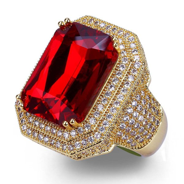Gold Color Plated Iced Out Copper Micro Pave CZ Stone With Red Rhinestone Ring Hip Hop Rock Jewelry Rings With 7,8,9,10,11 BR014
