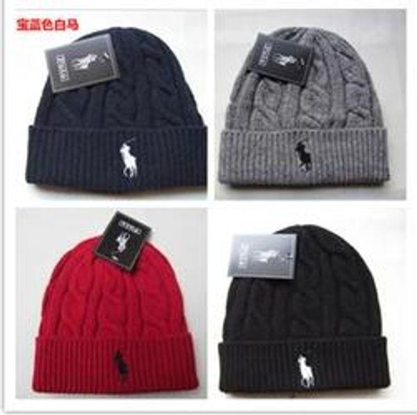 2018 Fashion Unisex Spring Winter Hats for Men women Knitted Beanie Wool Hat Man Knit Bonnet Polo Beanie Gorros touca Thicken Warm Cap