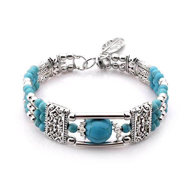 shen fashion beaded bracelet making with steel wire turquoise zinc casting ccb cheap price free shipping