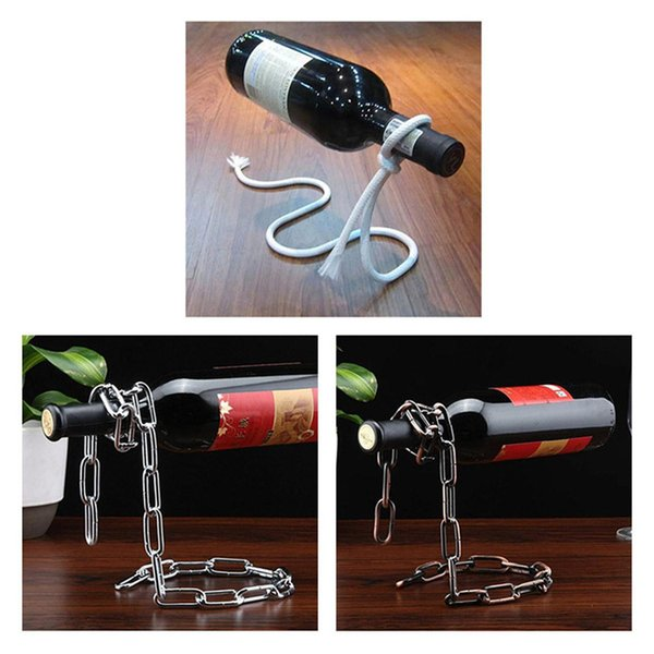 Cremagliere del vino Catena magica Bottiglia di vino Stand Sospensione Handmade placcatura Self Rack Home Kitchen Bar Accessori Holder