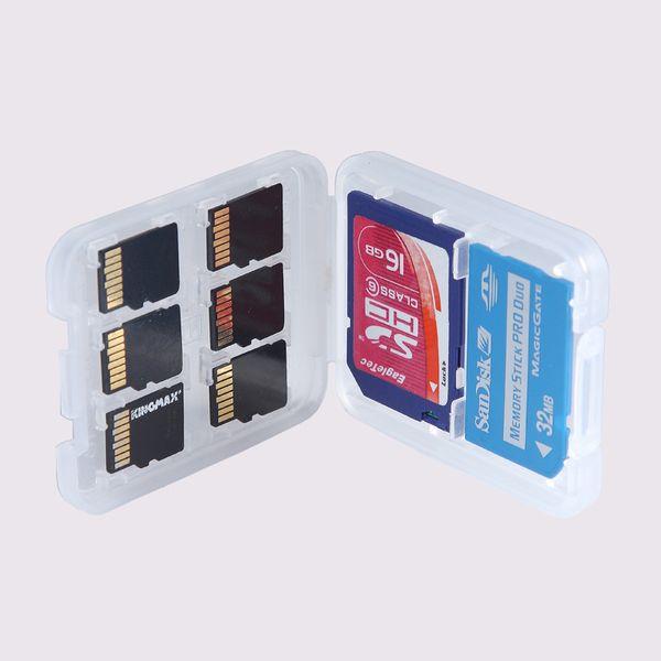 Nuevo 8 en 1 caja de caja de plástico para TF Micro SD tarjeta de memoria para SDHC TF MS Protector Holder alta calidad LX0285