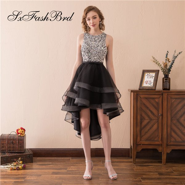 Elegant Girls Dress O Neck With Beading Open Back A Line Hi Low Tulle Party Formal Evening Dresses for Women Prom Dress Gowns