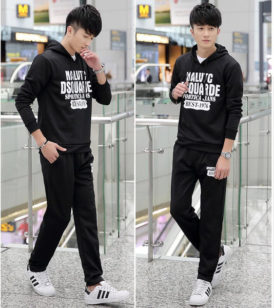 2019 Plus Men Sport Suit Long Sleeved Cashmere Coat High School Male  Fitness Baseball Sweater, Sportswear Pants Suit From Zp885201, $38.58