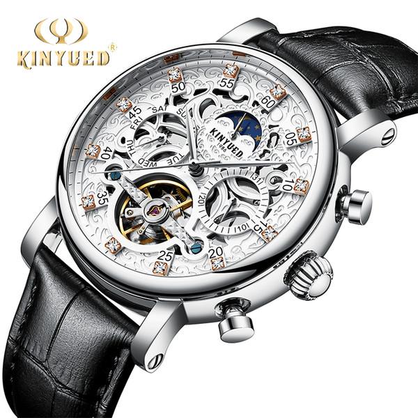 KINYUED Classic Skeleton Watch Men Automatic Tourbillon Mens Mechanical Wristwatch Leather Moon Phase Calendar Male Clock S917