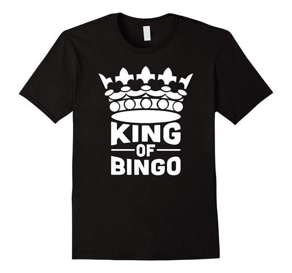 Engraçado Camisetas Homens Tripulação Pescoço Rei Do Bingo Curto-Luva Verão Camiseta