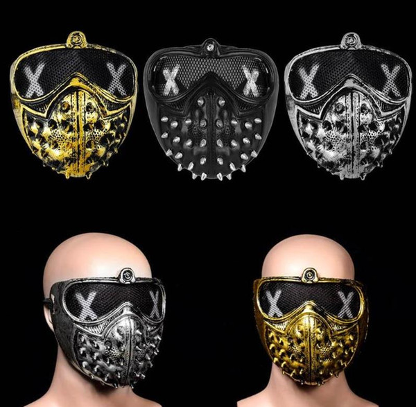 Halloween Devil Ghost Mask Party COS Game Mask Punk Rivet Death horror masks helmet eyepatch face muffle black gold silver festive supplies
