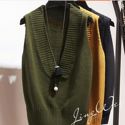 Knitted Deep V-neck Vest Women Sweater Knitting All Season Matched Pullover Solid Sleeveless Tank Medium Length Vests