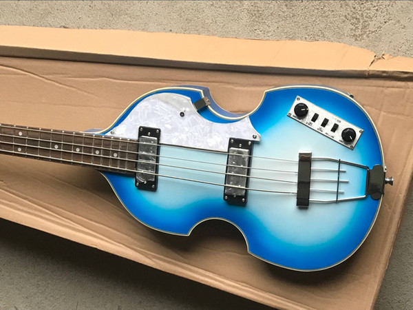 top popular Rare McCartney Hofner H500 1-CT Contemporary Violin Deluxe Bass White Blue Burst Electric Guitar White Pearl Tuners, 2 511B Staple Pickups 2021
