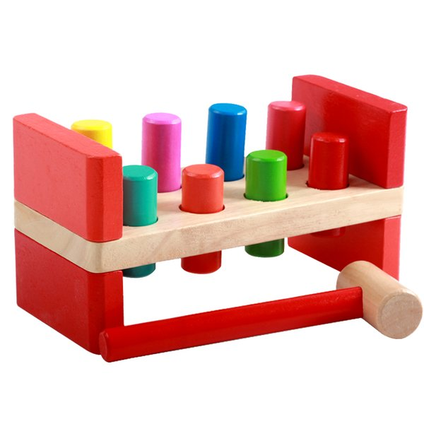 Deluxe Pounding Bench Peg Wooden Toy With Mallet Early Educational Games for Toddlers Kids