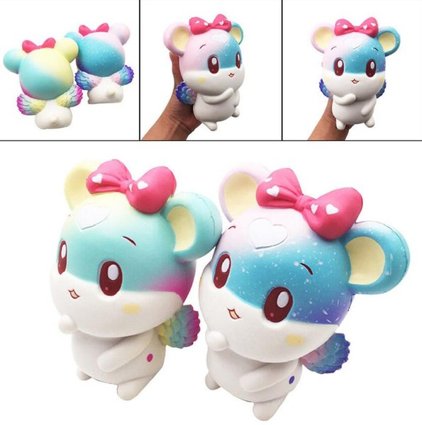 top popular Rainbow Angel Lovely Mouse Squishy Slow Rising Squeeze Stress Reliever Toy Home Decoration 2 color EEA110 2020
