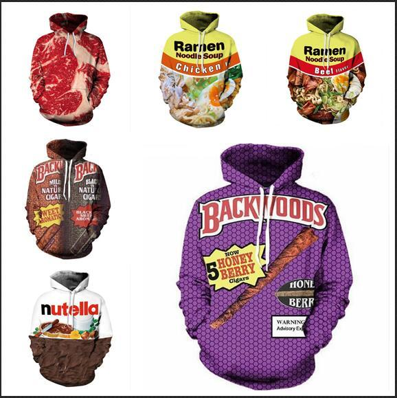 Newest Fashion Womens/Mens Harajuku Style BACKWOODS And Food Funny 3D Print Casual Hoodies Pullovers Sweatshirts LMS013