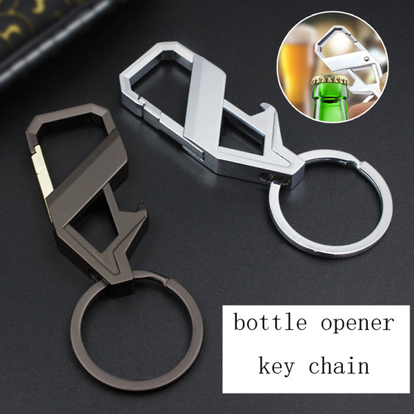 2018 neue heiße Verkaufs-kühle Mens-Silber überzogene Schlüsselanhänger aus Metall Tragbarer Flaschenöffner Schlüsselanhänger