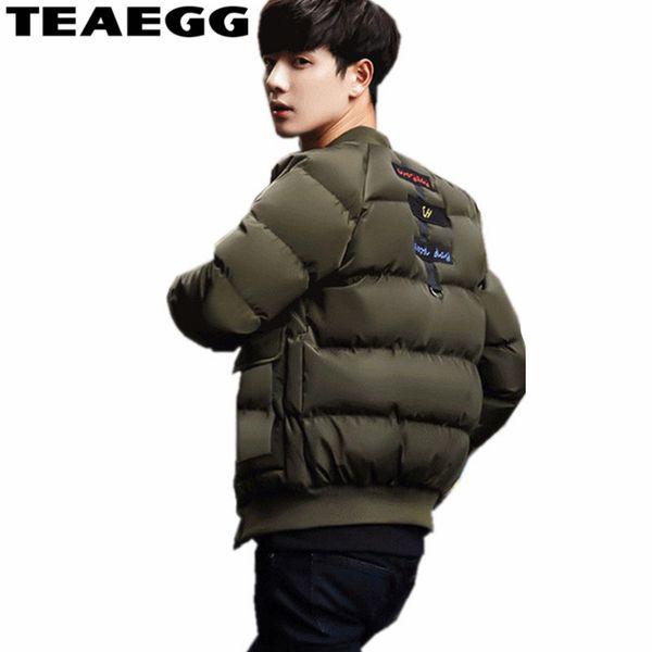 TEAEGG Army Green Thick Winter Male Jacket Clothes Baseball Bomber Jackets Mens Winter Coat Chaqueta Invierno Hombre 5XL AL118